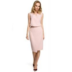 Púdrovoružové púzdrové šaty s prekríženým dekoltom MOE395