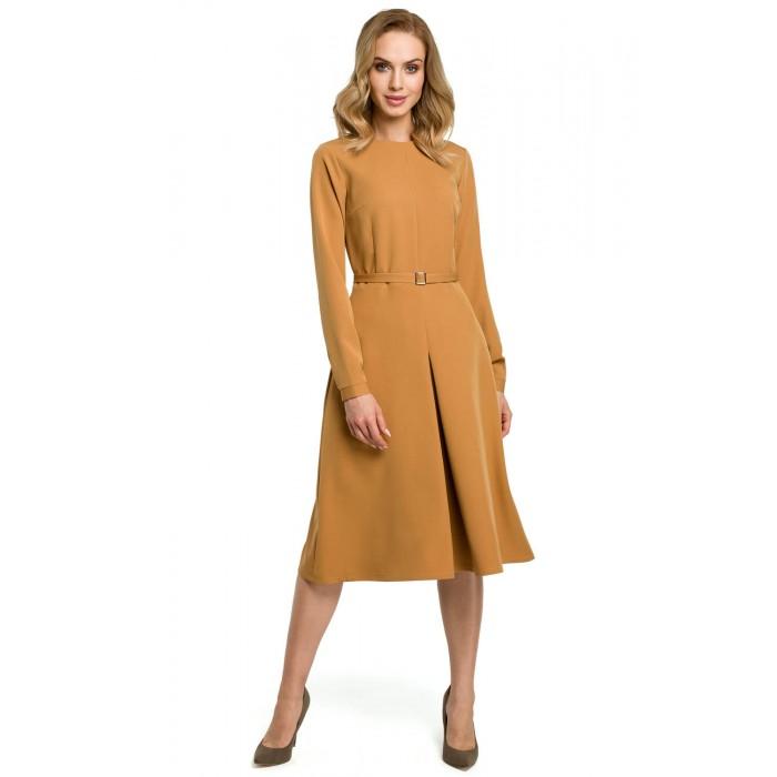 39d6d6f78127 Škoricovožlté šaty v Alínii s opaskom a dlhým rukávom MOE398