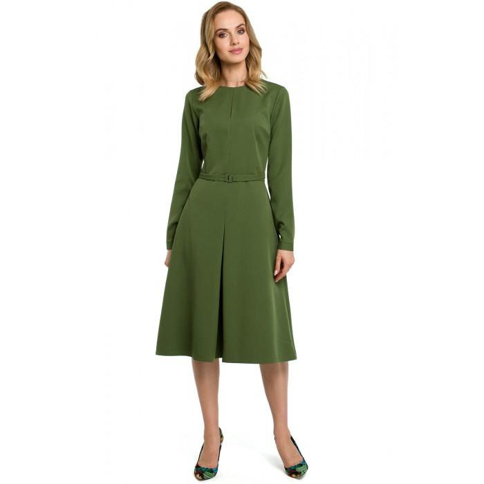 0f120f50ea2f Zelené šaty v Alínii s opaskom a dlhým rukávom MOE398