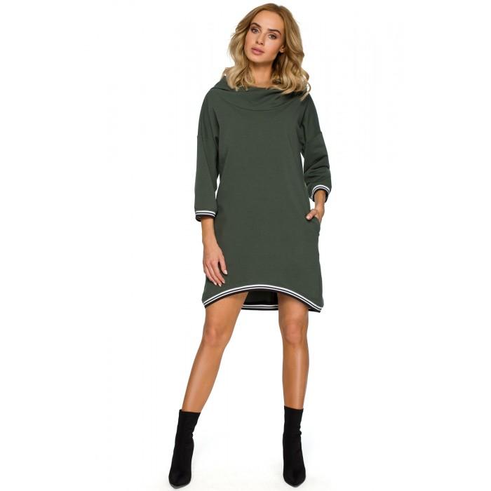 3dc024b63 Vojensky zelené úpletové športové asymetrické šaty MOE401