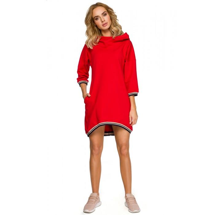 f885c5f3bc9e Červené úpletové športové asymetrické šaty MOE401