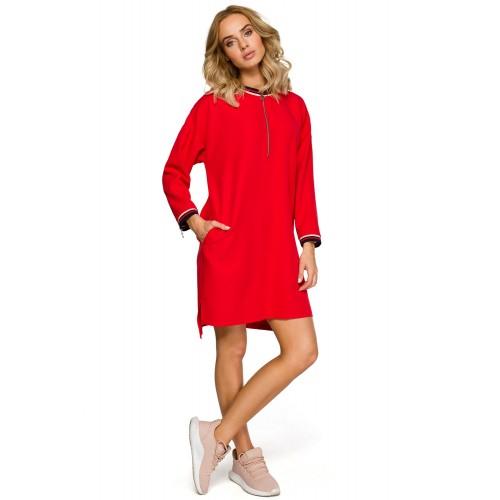 Červené úpletové športové šaty so zipsom MOE402