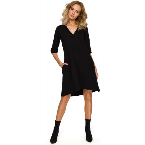 Čierne tunikové šaty s V výstrihom a 3/4 rukávom MOE403