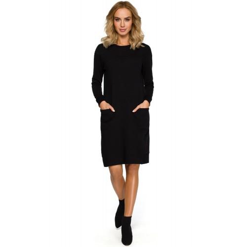 Čierne púzdrové úpletové športové šaty s dlhým rukávom MOE404