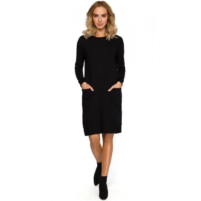 11346498a0 Čierne púzdrové úpletové športové šaty s dlhým rukávom MOE404