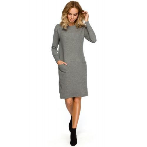 Sivé púzdrové úpletové športové šaty s dlhým rukávom MOE404