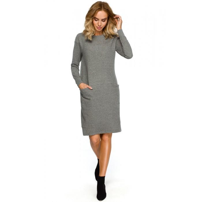 Sivé púzdrové úpletové športové šaty s dlhým rukávom MOE404 fcd9b17353e