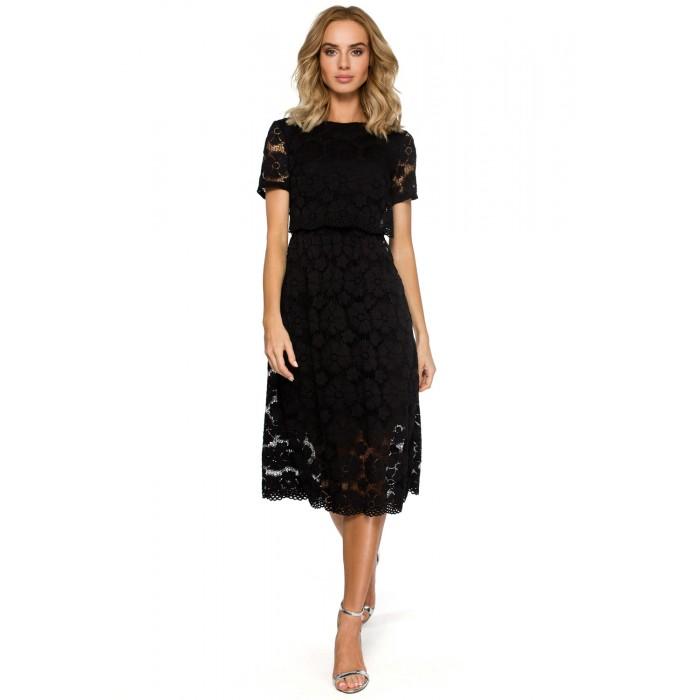 ce74360fa0 Čierne elegantné čipkované MIDI šaty MOE405