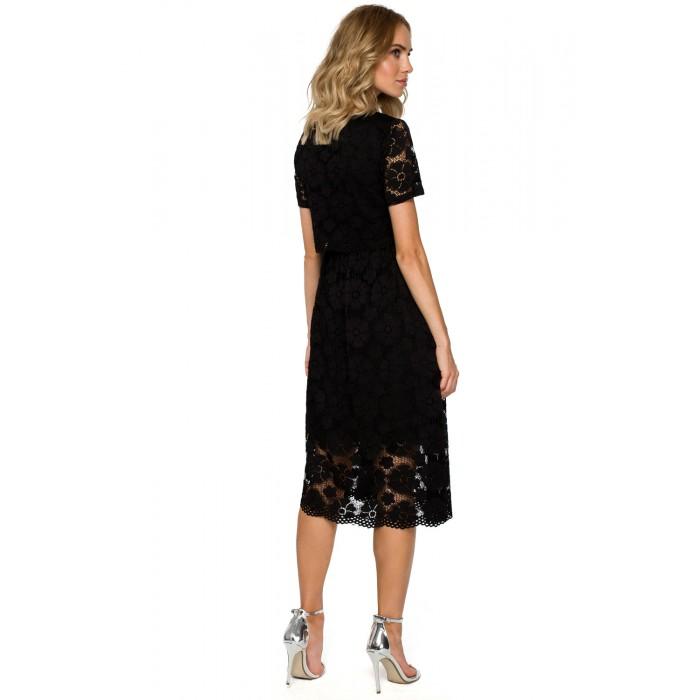 bc9083c12009 Čierne elegantné čipkované MIDI šaty MOE405
