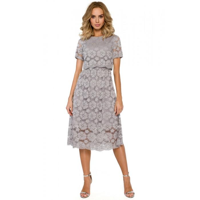 682ed6e3055d Sivé elegantné čipkované MIDI šaty MOE405
