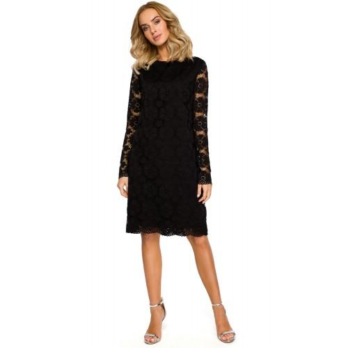 Čierne elegantné čipkované šaty v Alinii MOE406