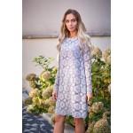 Púdrovoružové elegantné čipkované šaty v Alinii MOE406