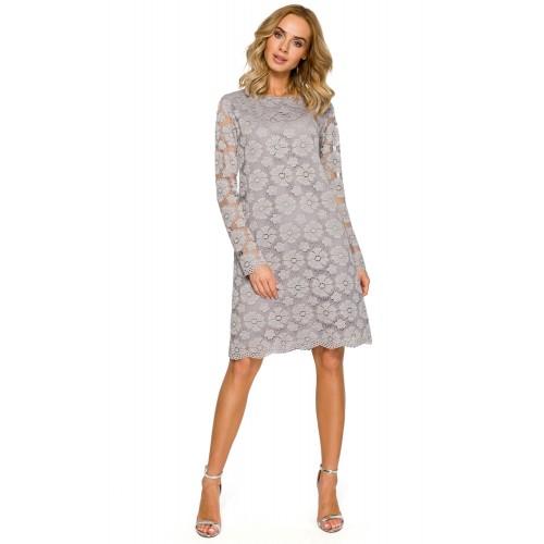 Sivé elegantné čipkované šaty v Alinii MOE406