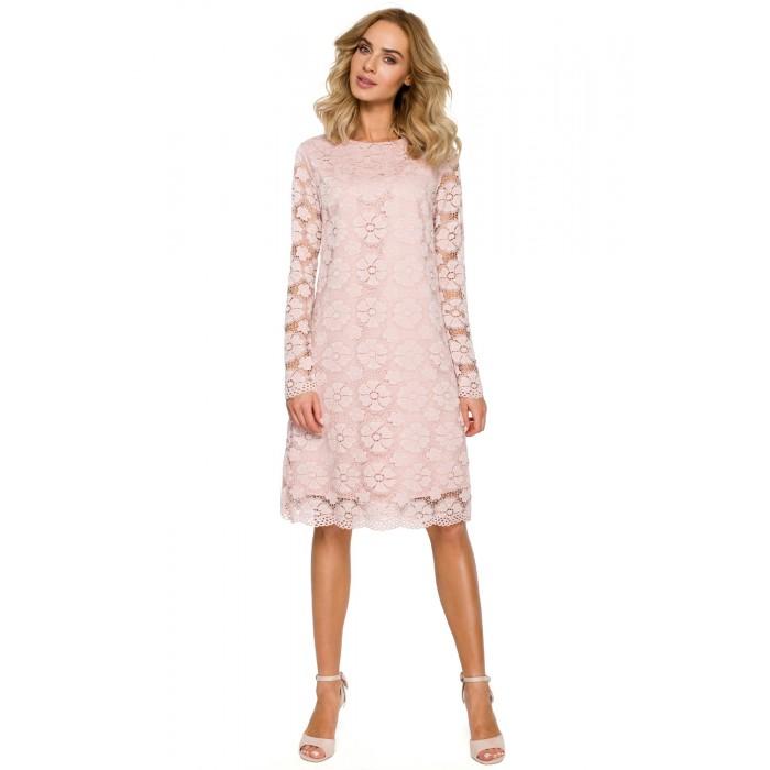 ffc43d933de4 Púdrovoružové elegantné čipkované šaty v Alinii MOE406