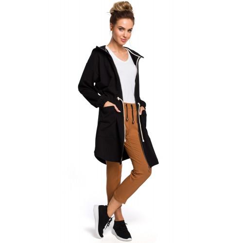 Čierna bavlnená predĺžená mikina s kapucňou MOE416