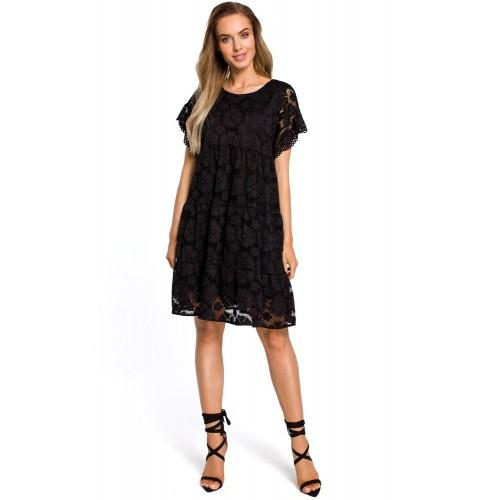Čierne elegantné čipkované šaty v Alinii s rukávom MOE430