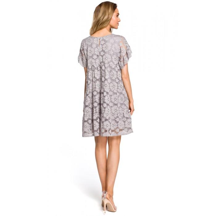 e9cb93665c42 Sivé elegantné čipkované šaty v Alinii s rukávom MOE430