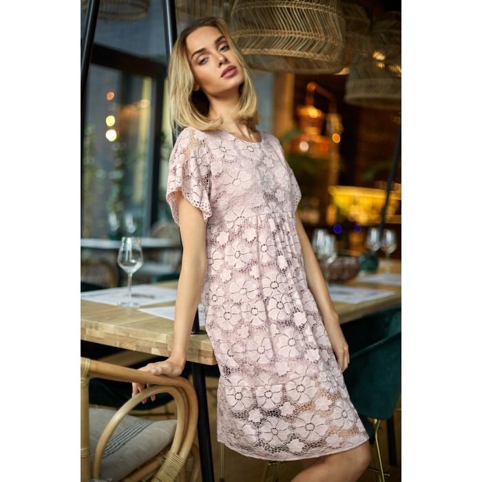 696084210166 Čierne elegantné čipkované šaty v Alinii s rukávom MOE430