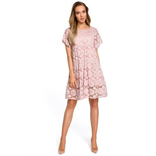 Púdrovoružové elegantné čipkované šaty v Alinii s rukávom MOE430