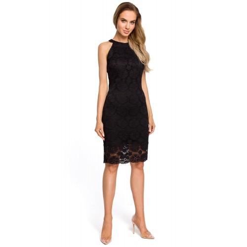 Čierne elegantné púzdrové čipkované šaty s raglánovým dekoltom MOE431