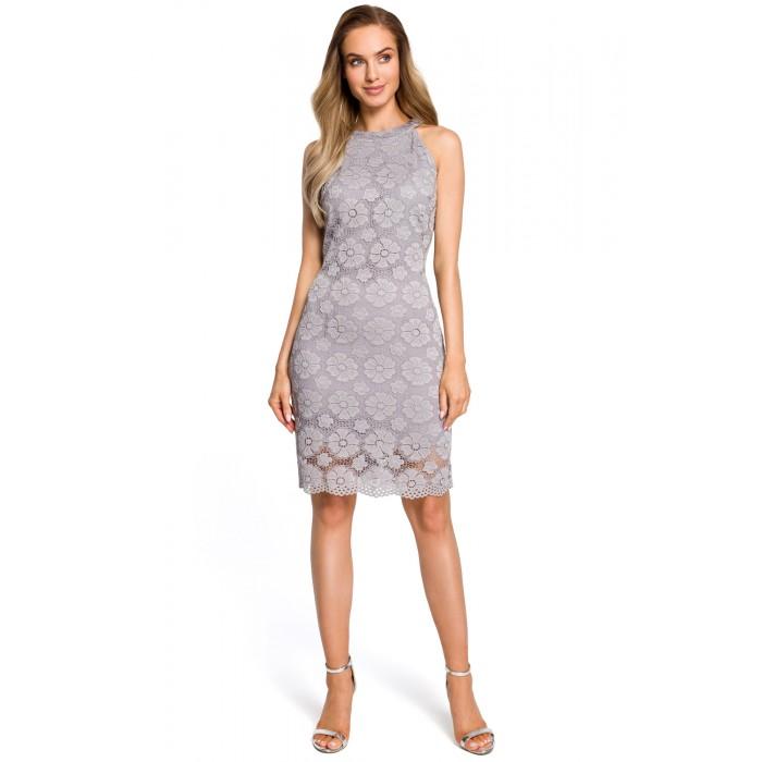 Sivé elegantné púzdrové čipkované šaty s raglánovým dekoltom MOE431 30a6c5936b8