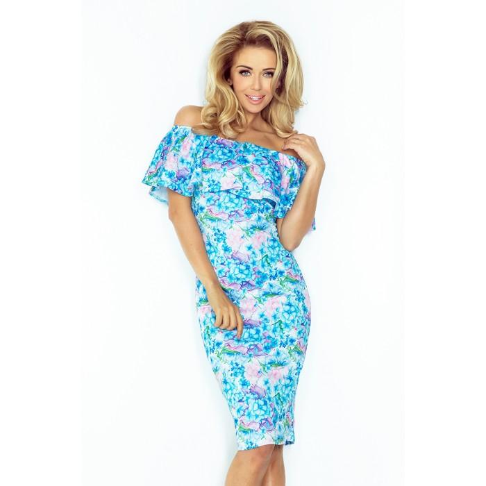 Kvetované púzdrové šaty bez ramienok - NUM138-5 394bef560c7
