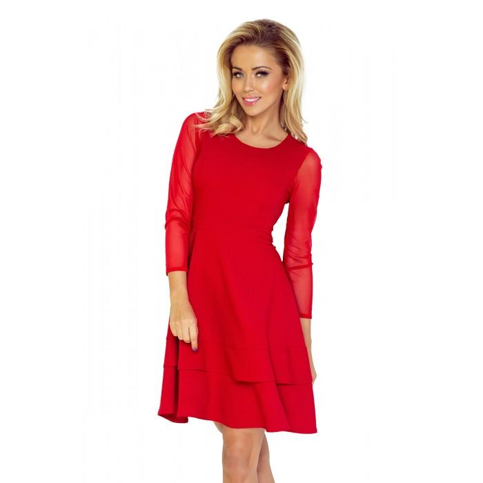 Červené koktejlové šaty s tylovým rukávom - NUM141-2 c3863bb29c9