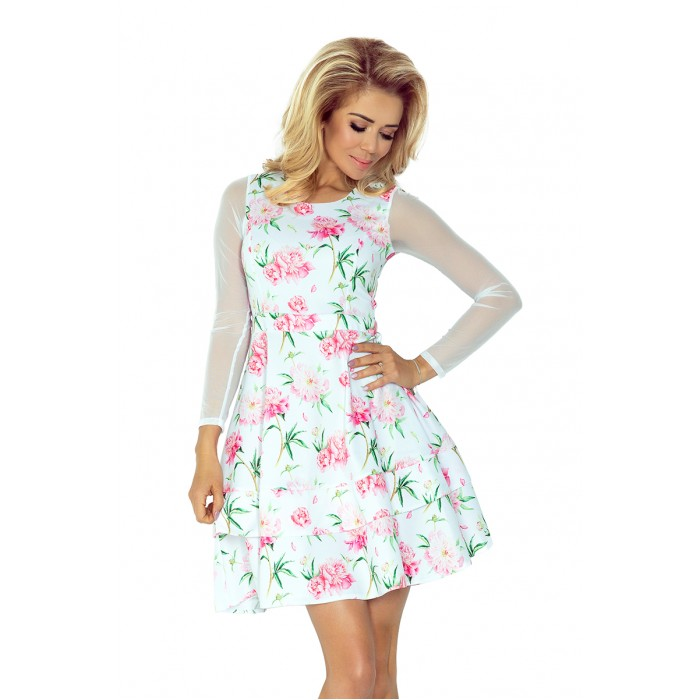 d6236f64be68 Kvetované koktejlové šaty s tylovým rukávom - NUM141-4