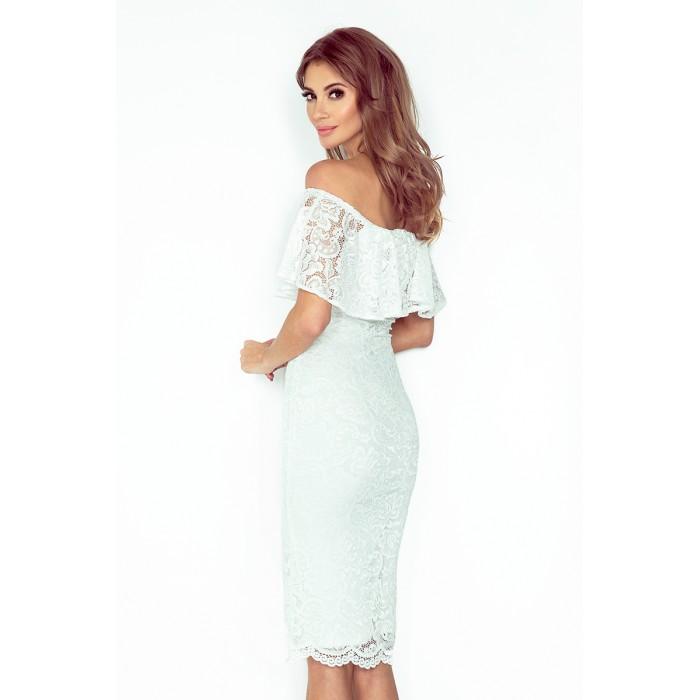 Biele čipkované púzdrové šaty s volánom HISPANSKA MM013-1 b69ec07aecb