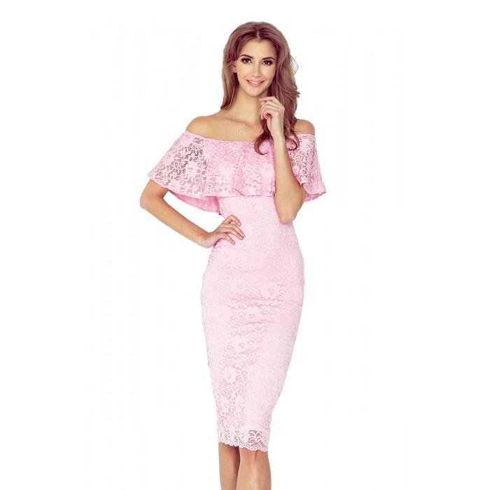 Ružové čipkované púzdrové šaty s volánom HISPANSKA MM013-2 fb8e241d9c5