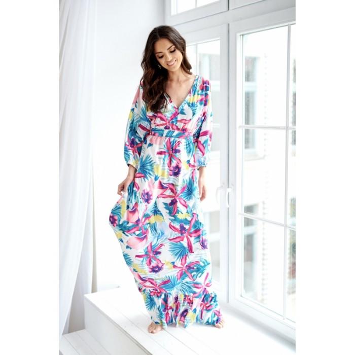 d5ae526a610b Kvetované MAXI šaty so 7 8 rukávom AMARANT