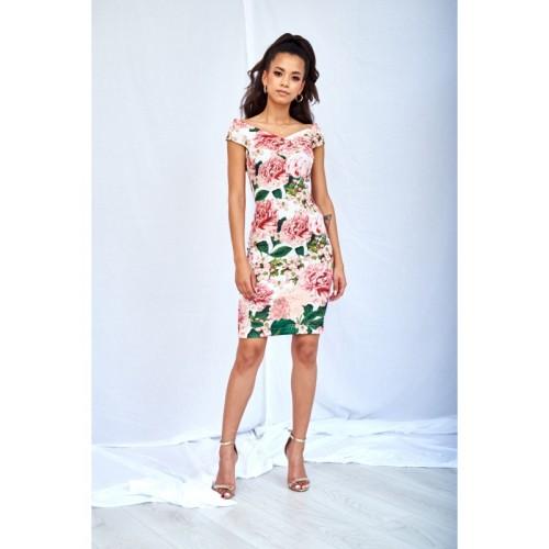Púzdrové kvetované šaty so širším dekoltom PEONIA