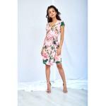Ružové kvetované šaty s preloženým dekoltom PINK PEONIA
