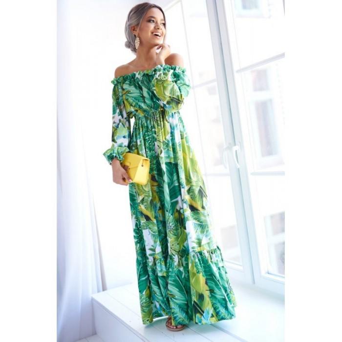 9a028334ac78 Zelené vzorované MAXI šaty BANANAS