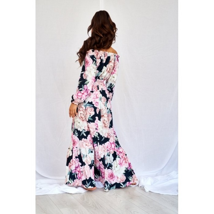 886a4efde8ba Čierne kvetované MAXI šaty BLACK ROSE PRINT
