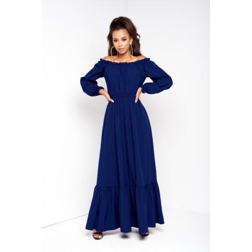 Tmavomodré jednofarebné MAXI šaty