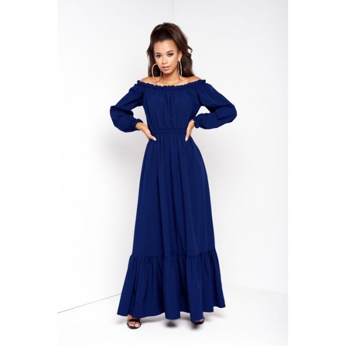 eb56432508e1 Tmavomodré jednofarebné MAXI šaty