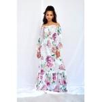 Biele kvetované MAXI šaty WHITE ROSE PRINT