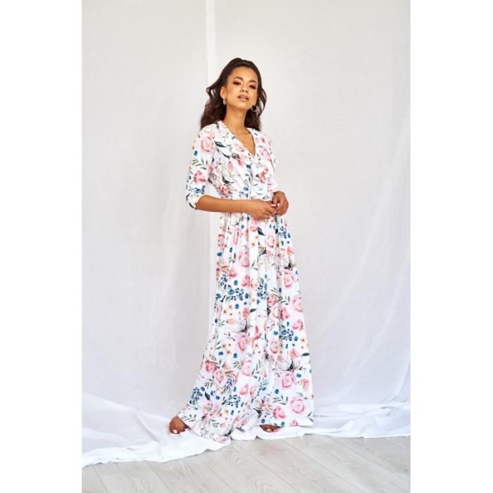 1781df2f8be0 Kvetované MAXI šaty s volánom na dekolte SPRING FLOWERS