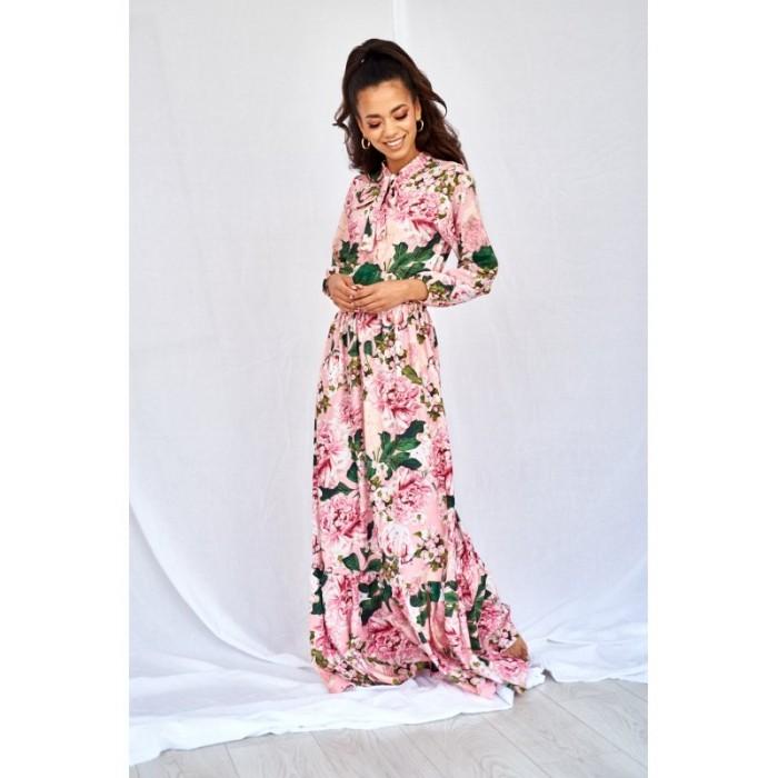 3a270c692249 Ružové kvetované MAXI šaty s viazaním PINK PEONIA