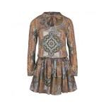 Mosquito - Šaty s jesenným vzorom a viazaním