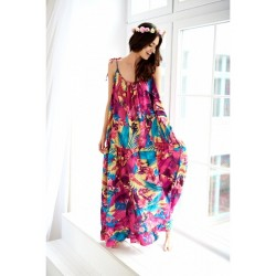 Vzorované oversize MAXI šaty BOHO COLORS JUNGLE