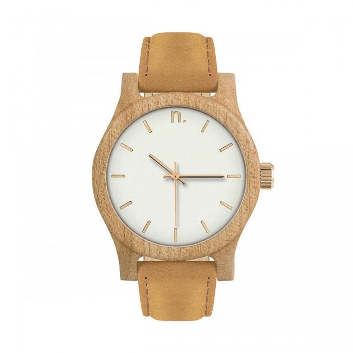 Drevené dámske bielo-zlaté hodinky s hnedým koženým remienkom CLASSIC 38  WIAZ e2c765c3288