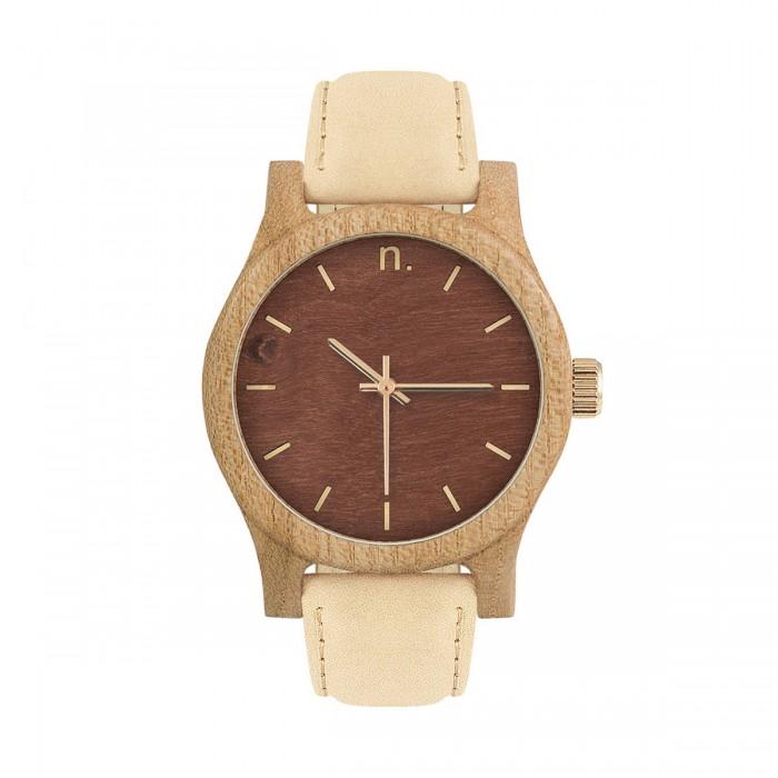 Drevené dámske hnedo-zlaté hodinky s béžobým koženým remienkom CLASSIC 38  WIAZ 95907bd178c
