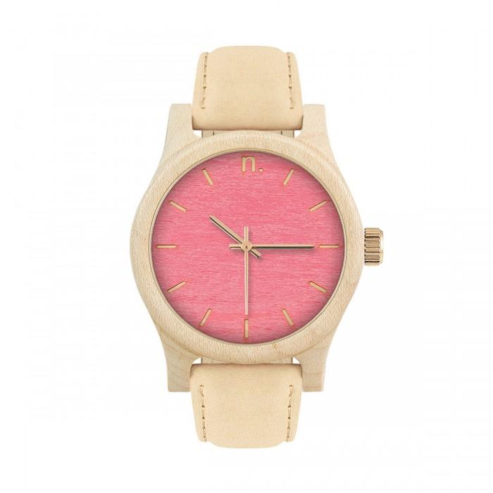 Drevené dámske ružové hodinky s béžovým koženým remienkom CLASSIC 38 KLON efbe435f660