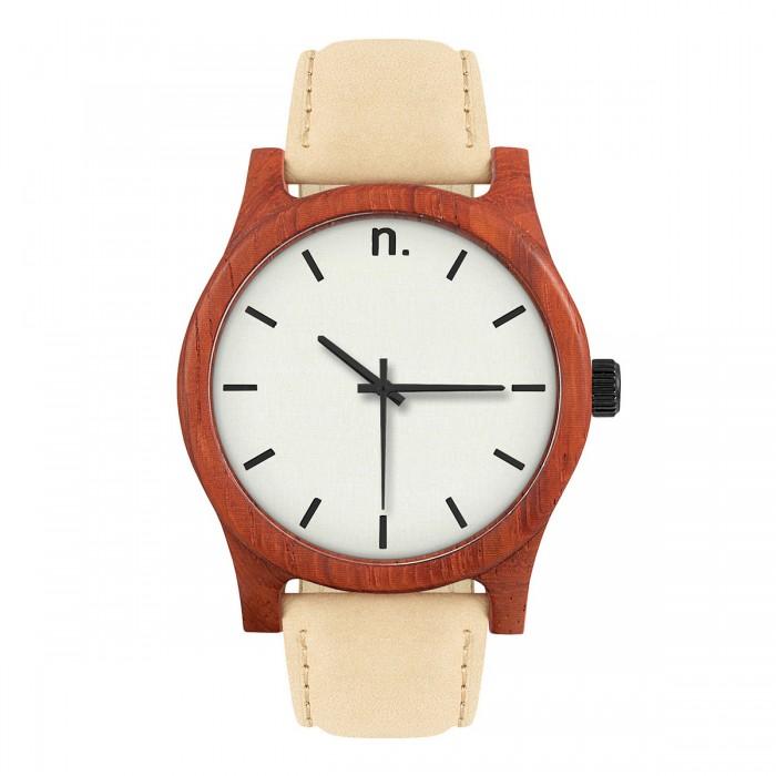 Drevené béžové pánske hodinky s koženým remienkom CLASSIC 43 6c83b703d68