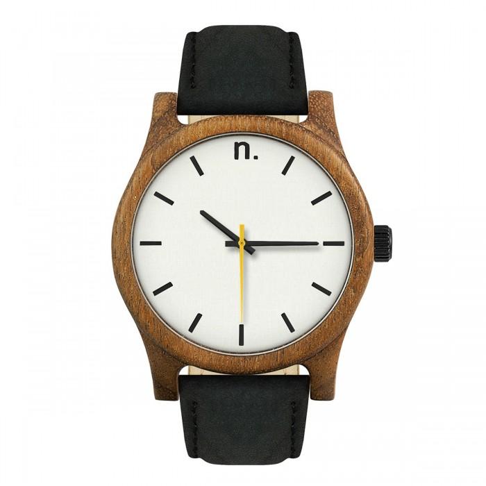 Drevené bielo-čierne pánske hodinky s koženým remienkom CLASSIC 43 AMAZAQUE 598104bc1b7