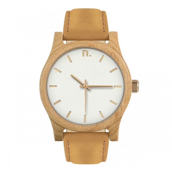 a9bd49b1f Drevené pánske hodinky s koženým remienkom v bielo-zlatej farbe CLASSIC 43  PADOUK