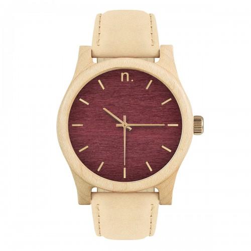 862dd1c43 Drevené pánske hodinky s koženým remienkom v bordovo-zlatej farbe CLASSIC  43 KLON