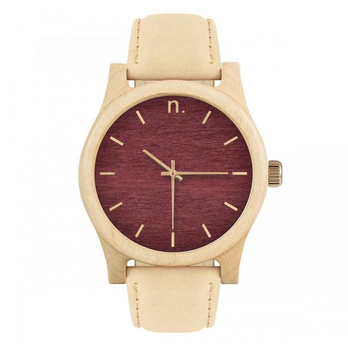 Drevené pánske hodinky s koženým remienkom v bordovo-zlatej farbe CLASSIC  43 KLON c7c40a1a4b1